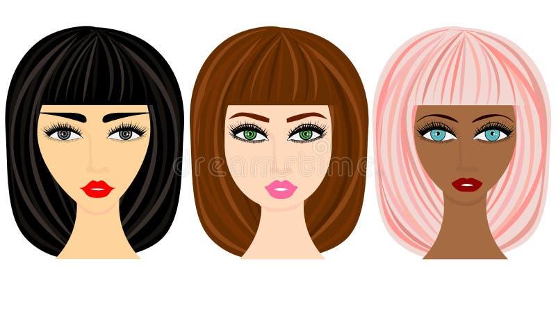 Sistema de los peinados de la mujer de la web ilustración del vector