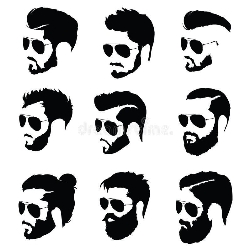 Sistema de los peinados para los hombres en vidrios Colección de siluetas negras de peinados y de barbas Ejemplo del vector para stock de ilustración