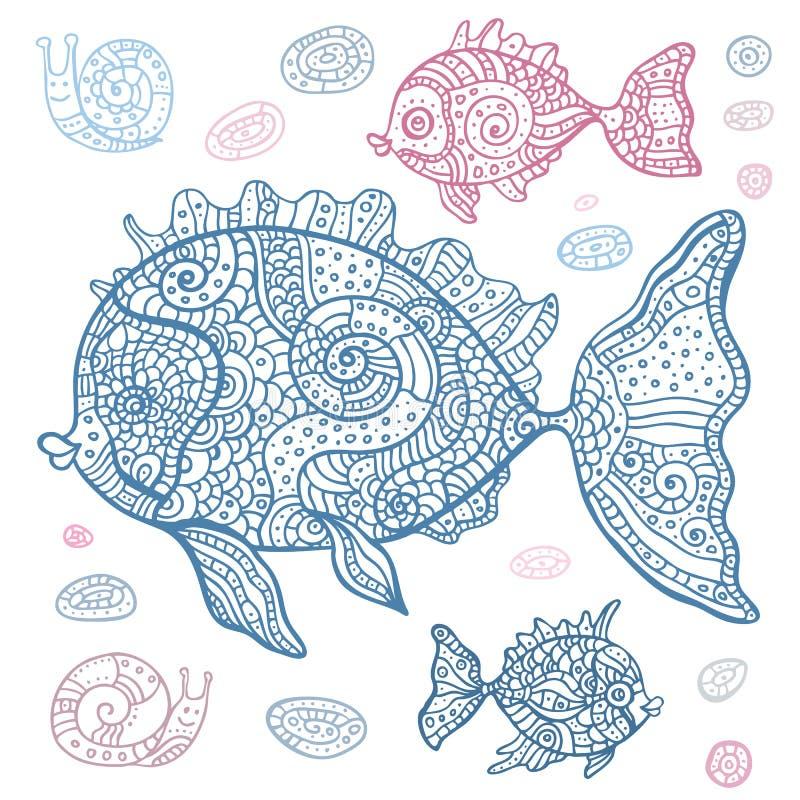 Sistema de los pescados de mar. Ejemplo dibujado mano. stock de ilustración