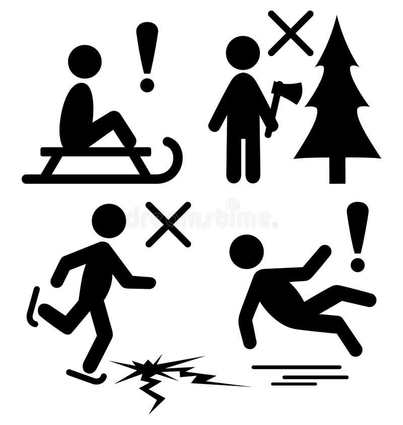 Sistema de los pictogramas P del negro plano de la información del peligro de la precaución del invierno libre illustration