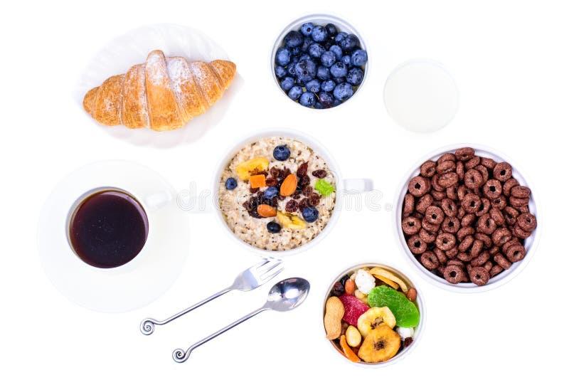 Sistema de los platos para el desayuno fácil, sano imagenes de archivo