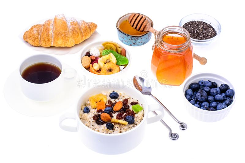 Sistema de los platos para el desayuno fácil, sano fotos de archivo libres de regalías