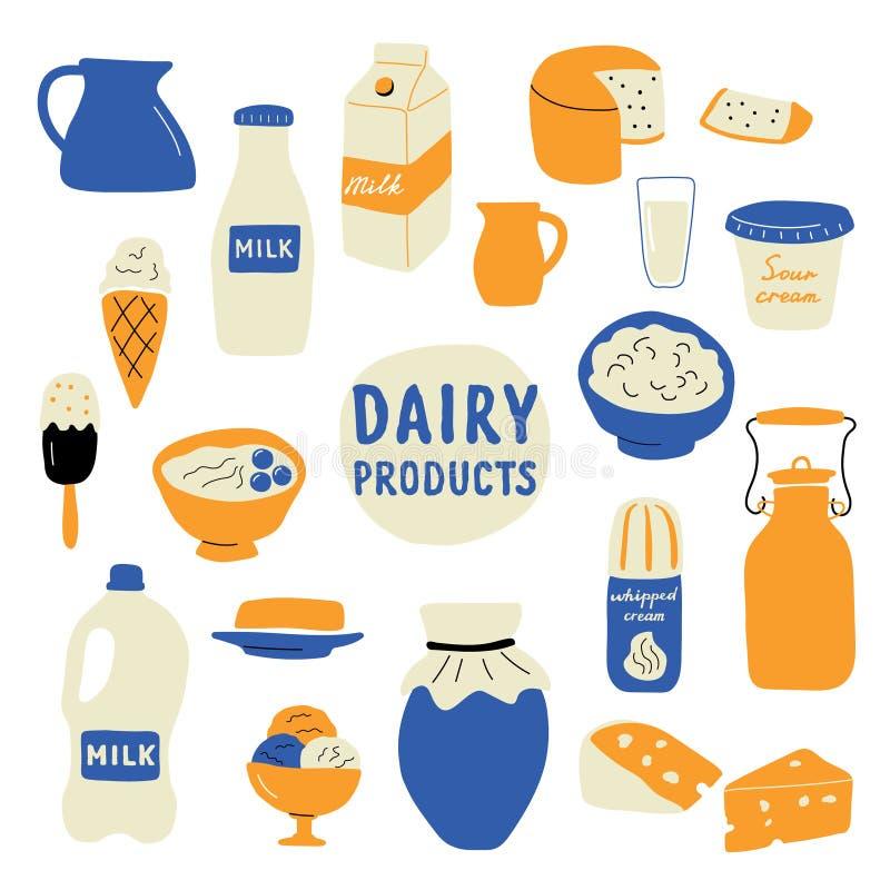 Sistema de los productos lácteos: leche, queso, mantequilla, crema agria, helado, yogur, requesón Ejemplo dibujado mano del vecto stock de ilustración