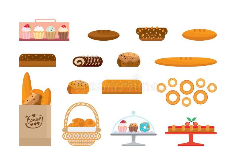 Sistema de los productos y de pan de la élite, dulces de la panadería Escaparate de la panadería ilustración del vector