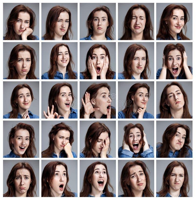 Sistema de los retratos de la mujer joven con diversas emociones foto de archivo libre de regalías