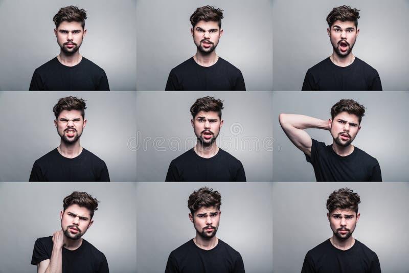 Sistema de los retratos del hombre joven con diversas emociones foto de archivo libre de regalías