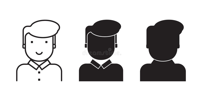 Sistema de los rostros humanos para el ejemplo para el usuario, cliente, consumidor ilustración del vector
