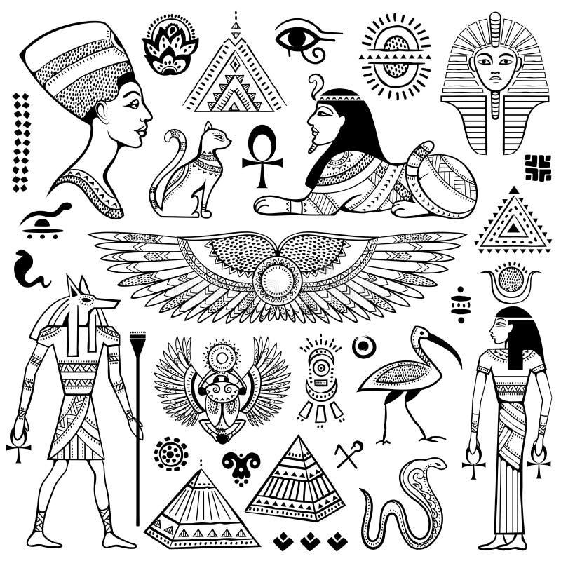 Sistema de los símbolos de Egipto del vector stock de ilustración