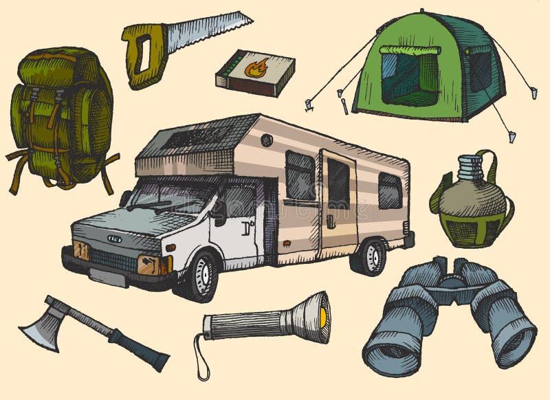 Sistema de los símbolos y de los iconos que acampan dibujados mano, ejemplo para su uso, proyecto del equipo del vector libre illustration