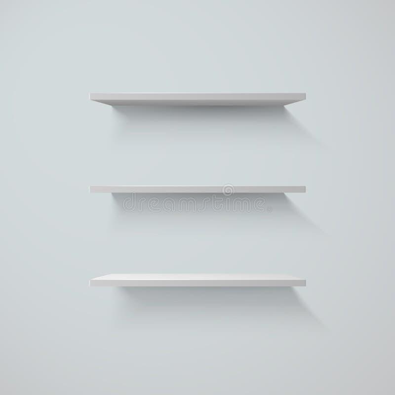 Sistema de los shelfs blancos en una pared Ilustración del vector ilustración del vector
