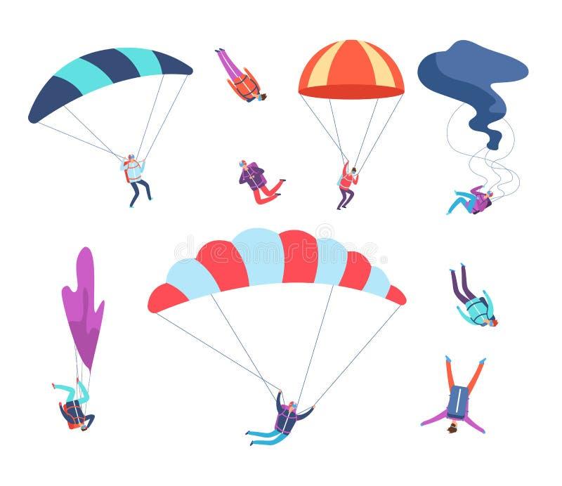 Sistema de los Skydivers La gente que salta con los paracaídas Puentes peligrosos del cielo de los deportes, caracteres del vecto libre illustration