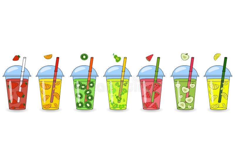 Sistema de los smoothies, jugos con diversos sabores r ilustración del vector