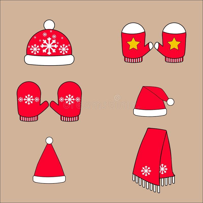 Sistema de los sombreros, de las manoplas y de la bufanda calientes del desgaste del ` s del invierno ilustración del vector
