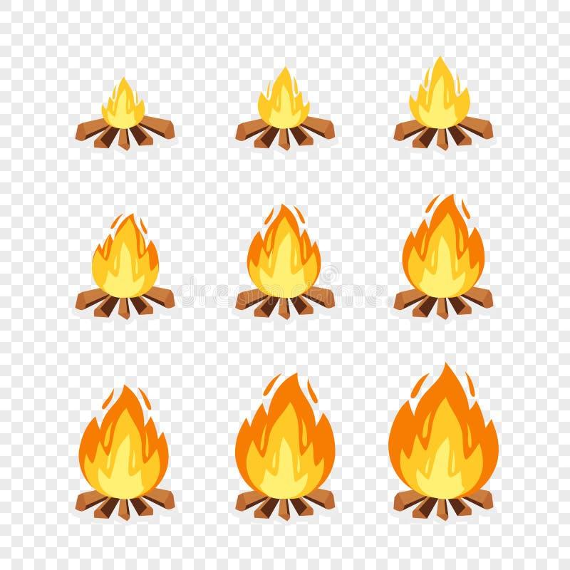 Sistema de los sprites del fuego del campo para la animación Marcos ardientes de la hoguera del ejemplo de la historieta del vect libre illustration