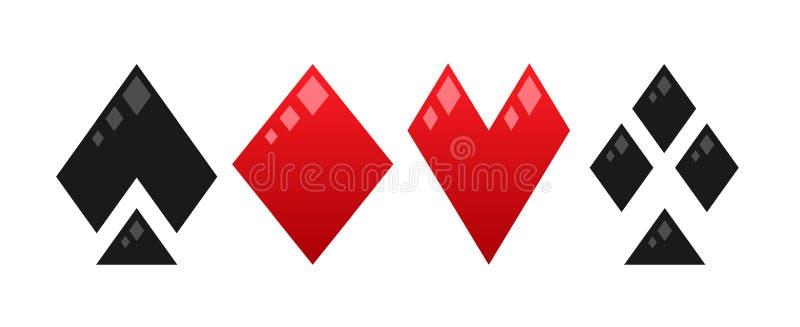Sistema de los trajes del naipe Cuatro símbolos Ilustración del vector stock de ilustración