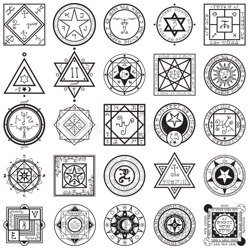 Sistema de los vectores de Sigils de la magia y de la alquimia stock de ilustración