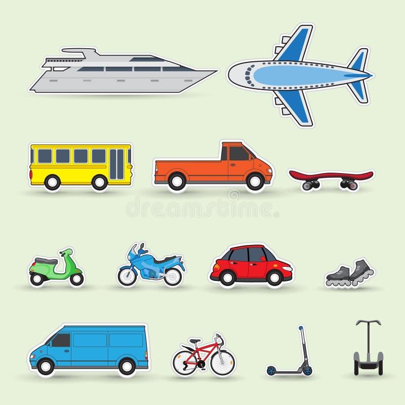 Sistema de los vehículos coloridos del tráfico, etiquetas engomadas stock de ilustración