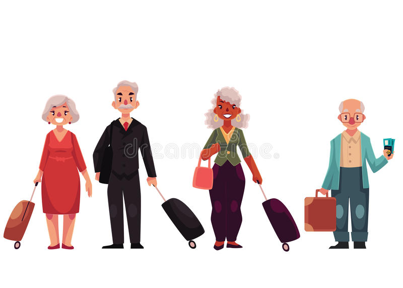 Sistema de los viejos, grises viajeros cabelludos, mayores con equipaje, maletas stock de ilustración