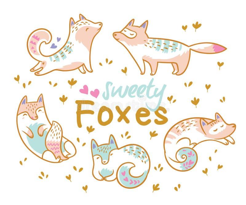 Sistema de los zorros lindos de la historieta, gatos Ideal para el remiendo, los pernos, la broche y las etiquetas engomadas Ilus libre illustration
