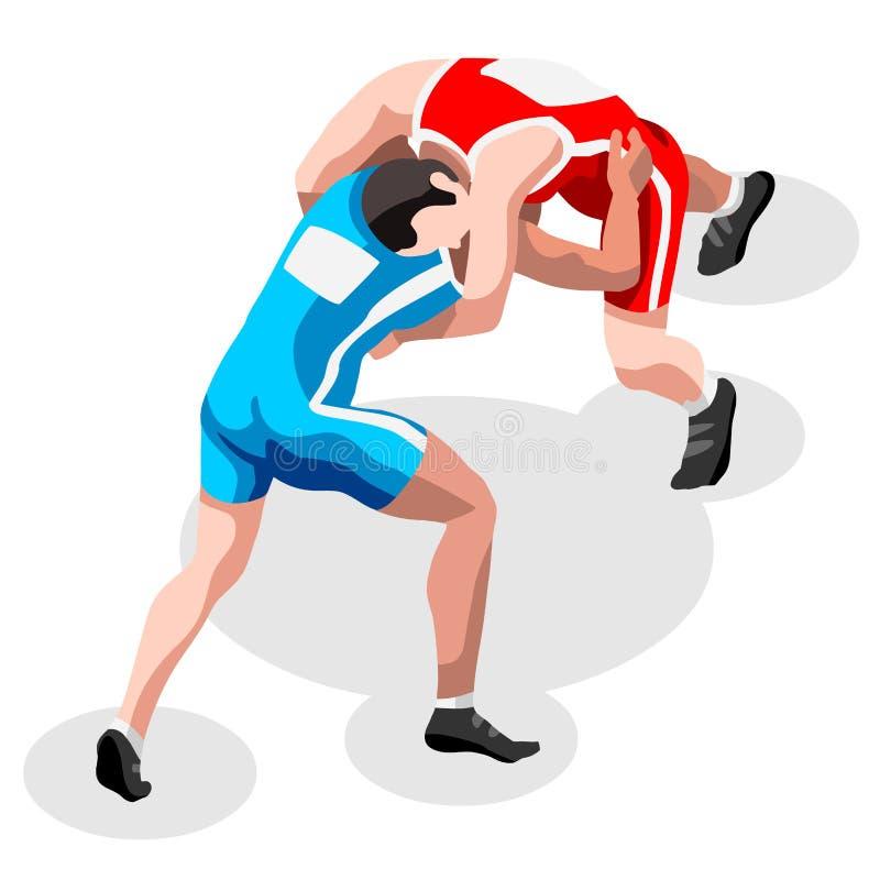 Sistema de lucha del icono de los juegos del verano de la lucha del estilo libre atletas que luchan isométricos 3D Olimpiadas que ilustración del vector