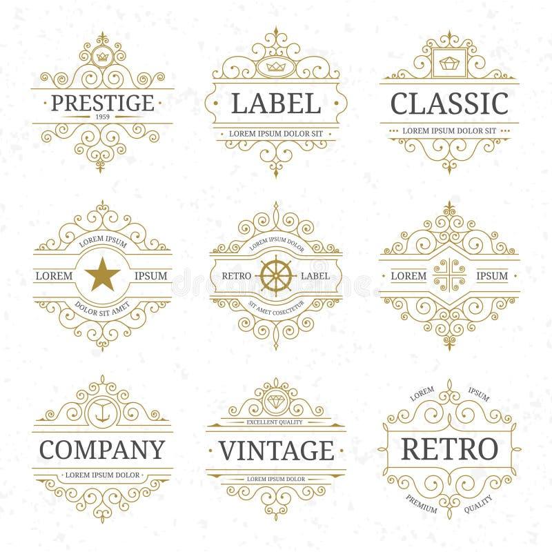 Sistema de lujo de la plantilla del logotipo del vintage con las líneas elegantes de los flourishes stock de ilustración