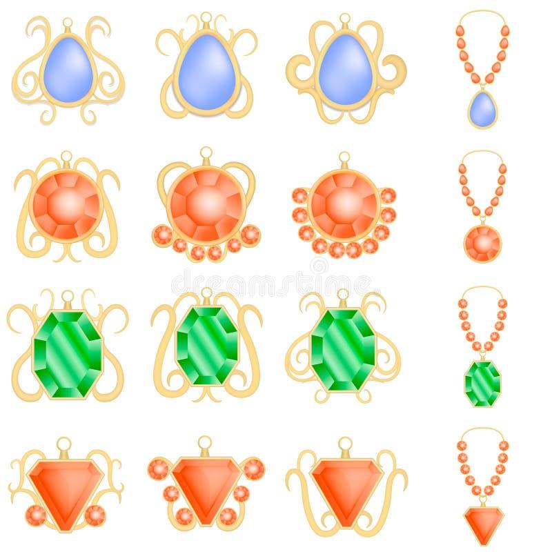 Sistema de lujo de la maqueta de la mujer de la joyería, estilo realista libre illustration