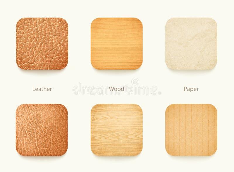 Sistema de madera de papel y de los iconos de cuero del app stock de ilustración