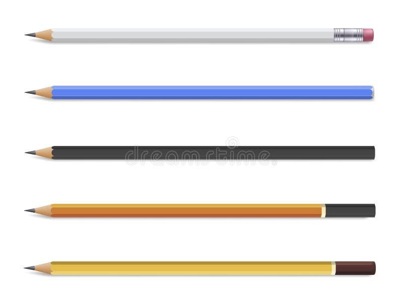 Sistema de madera del lápiz, efectos de escritorio para la escritura y dibujo libre illustration
