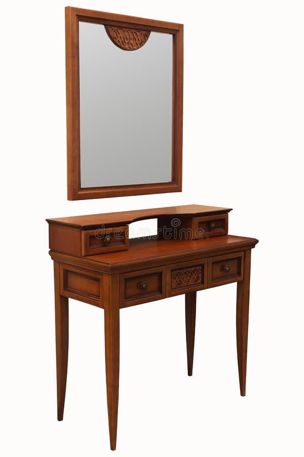 Sistema de madera del tocador del dormitorio con el espejo ilustración del vector