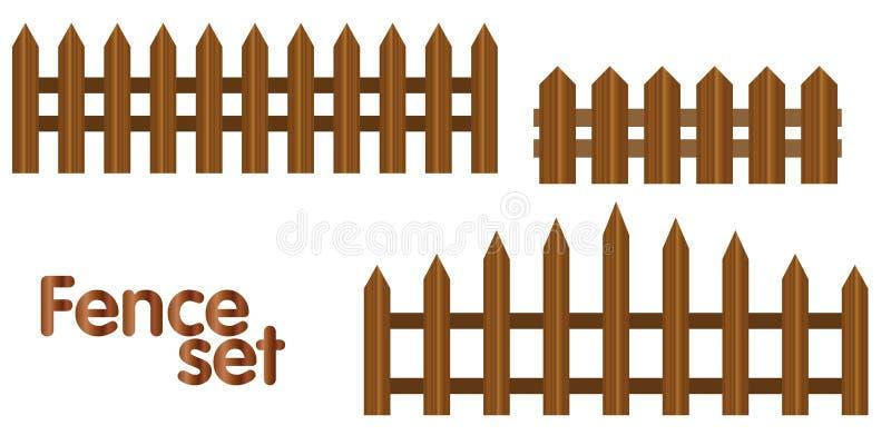 Sistema de madera de la cerca del vector realista stock de ilustración