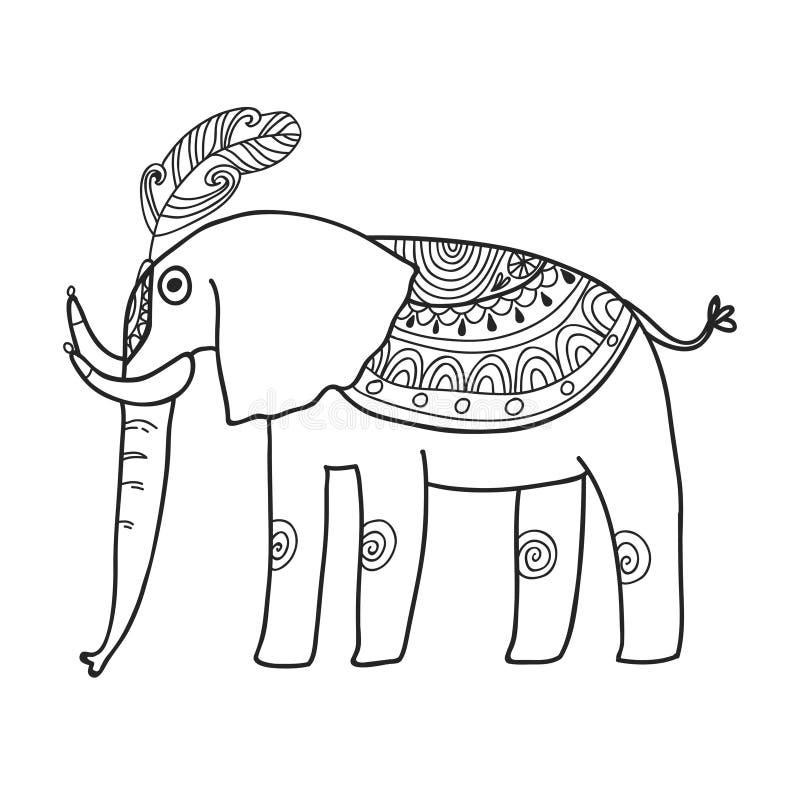 Sistema de Maharajá Garden Elefant Página que colorea libre illustration