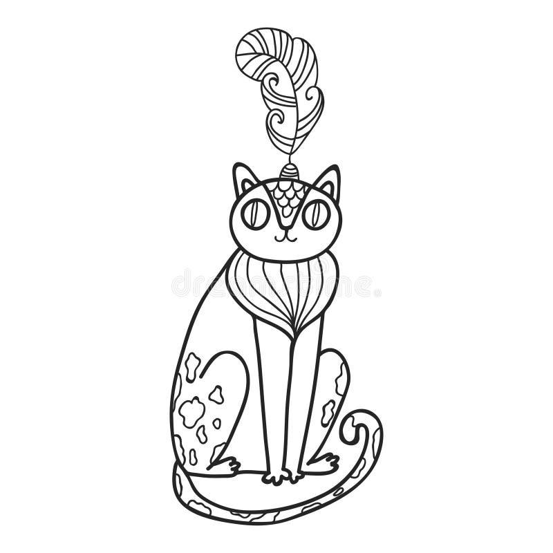 Sistema de Maharajá Garden Gato salvaje Página que colorea libre illustration