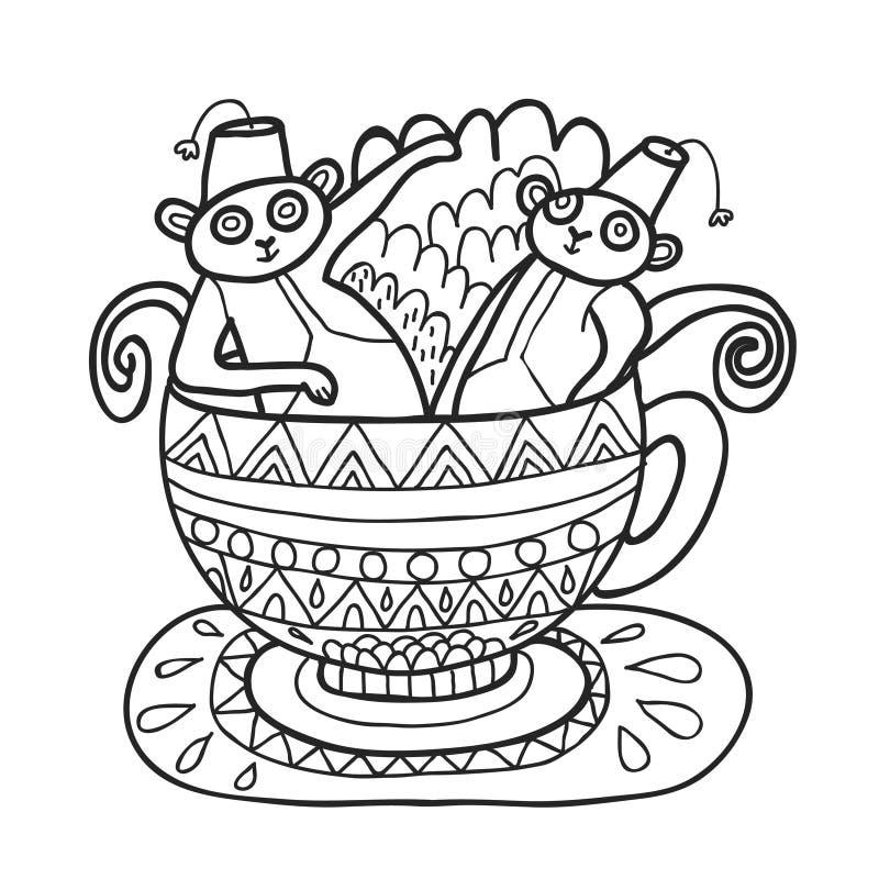 Sistema de Maharajá Garden Monos del Capuccino Página que colorea ilustración del vector