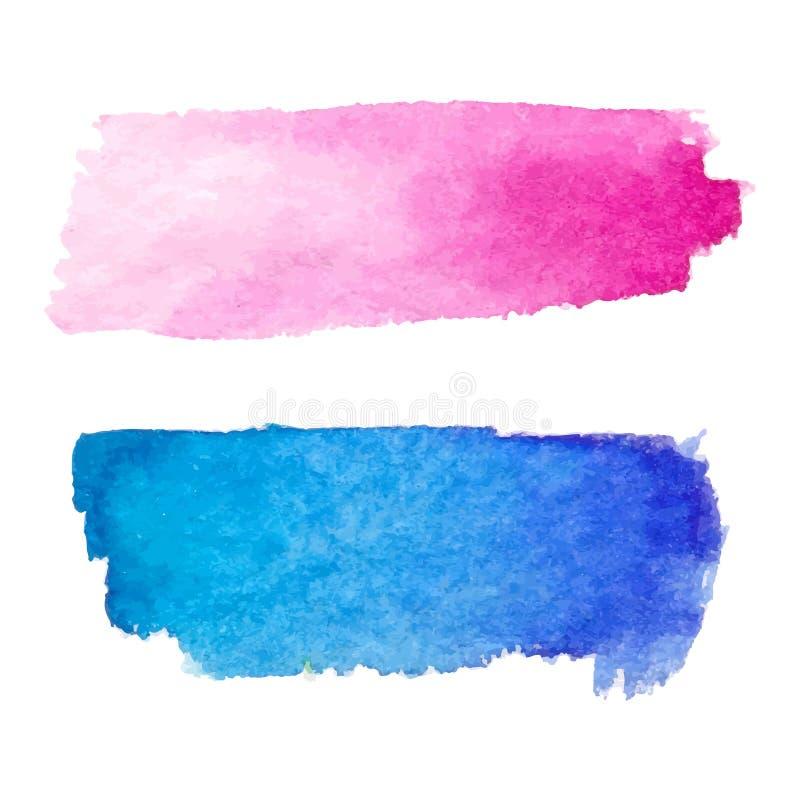 Sistema de manchas abstractas Colores rosados y azules Contexto horizontal creativo brillante Textura de la acuarela con los movi ilustración del vector