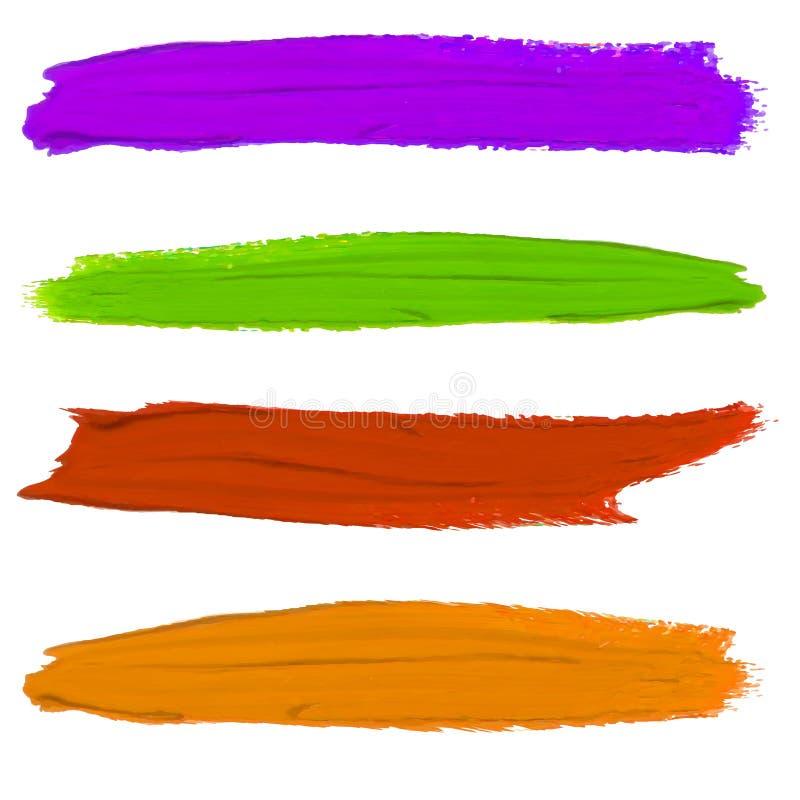 Sistema de manchas de la pintura del VECTOR Colores púrpuras, verdes, rojos y anaranjados stock de ilustración