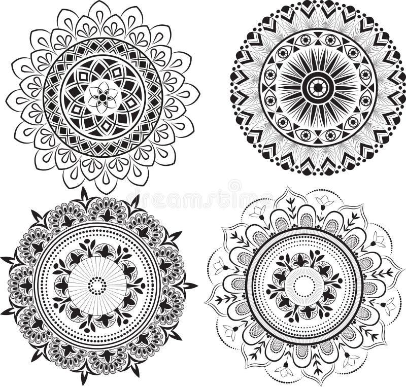 Sistema de mandalas blancos y negros libre illustration