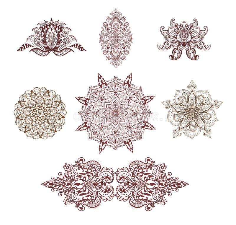 Sistema de mandalas, de loto y de elementos decorativos para el libro de colorear ilustración del vector