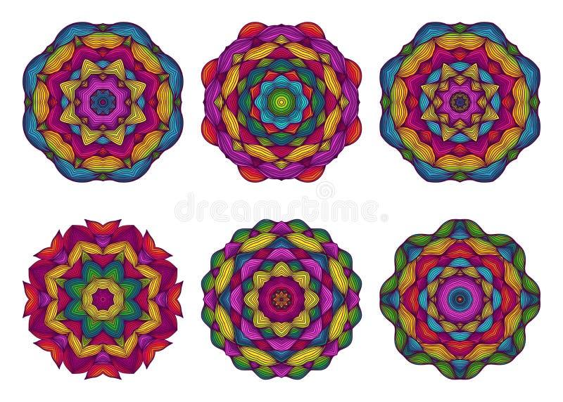 Sistema de mandalas Flores dibujadas mano hermosa ilustración del vector
