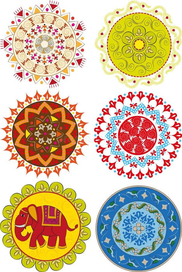 Sistema de mandalas indias coloreadas ilustración del vector