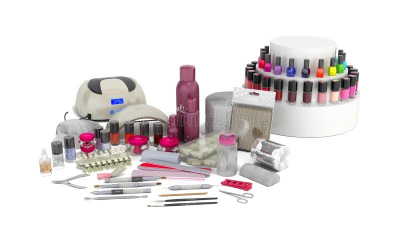 Sistema de manicura para los pulimentos y el fichero rosado 3d del gel del color de la lámpara del clavo LED del procedimiento de stock de ilustración