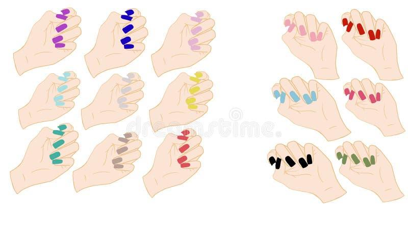 Sistema de manos con los clavos coloreados libre illustration