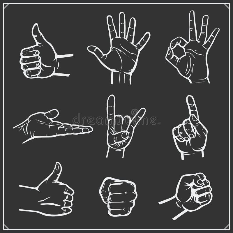 Sistema de manos de la gente diversos gestos Ilustración del vector libre illustration