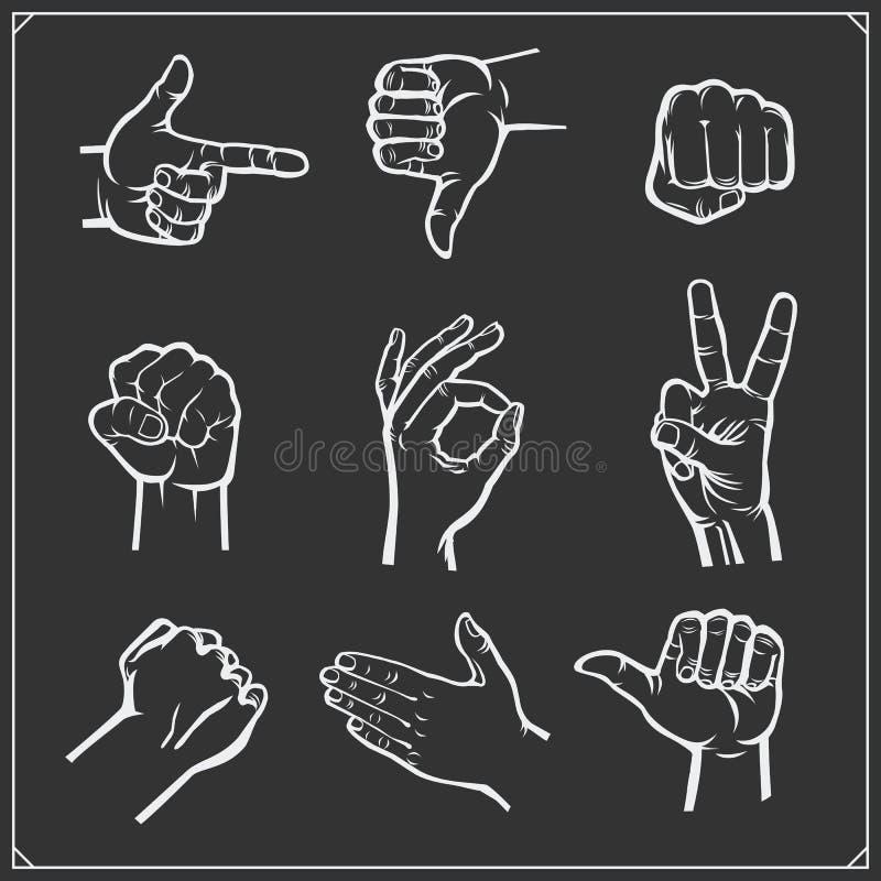 Sistema de manos de la gente diversos gestos Ilustración del vector stock de ilustración