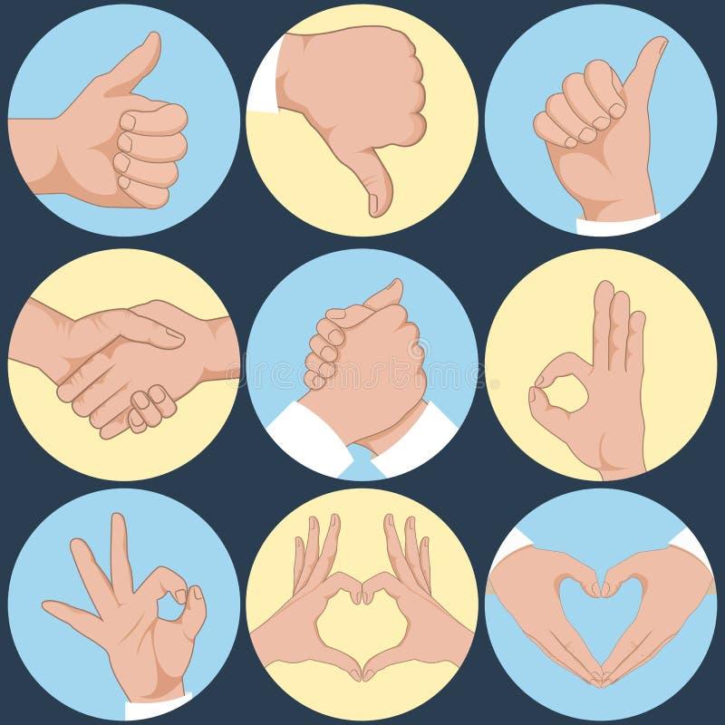 Sistema de manos en diversas emociones y muestras de los gestos libre illustration