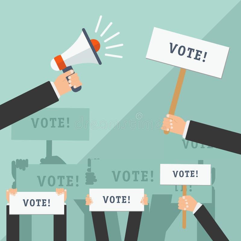 Sistema de manos que llevan a cabo diversas muestras Concepto de votación Ilustración del vector ilustración del vector