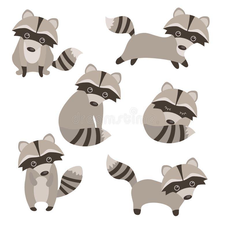 Sistema de mapaches lindos libre illustration