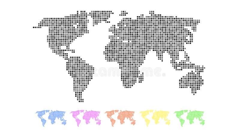 Sistema de mapas del mundo coloreados stock de ilustración