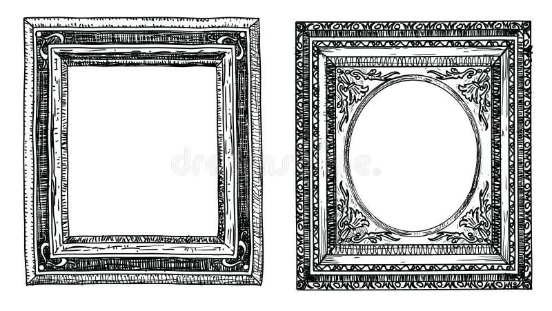 Sistema de marcos dibujados mano stock de ilustración