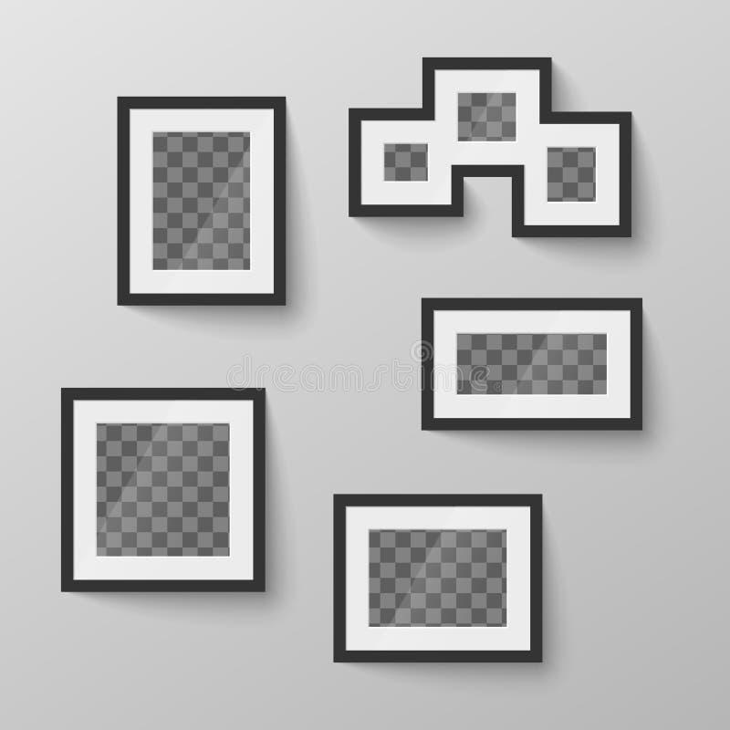 Sistema de marcos en blanco negros con el lugar transparente para la foto en diversas proporciones ilustración del vector