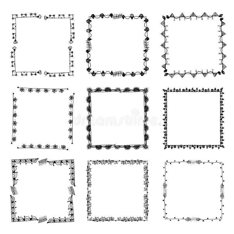 Sistema de marcos negros adornados aislados en blanco ilustración del vector